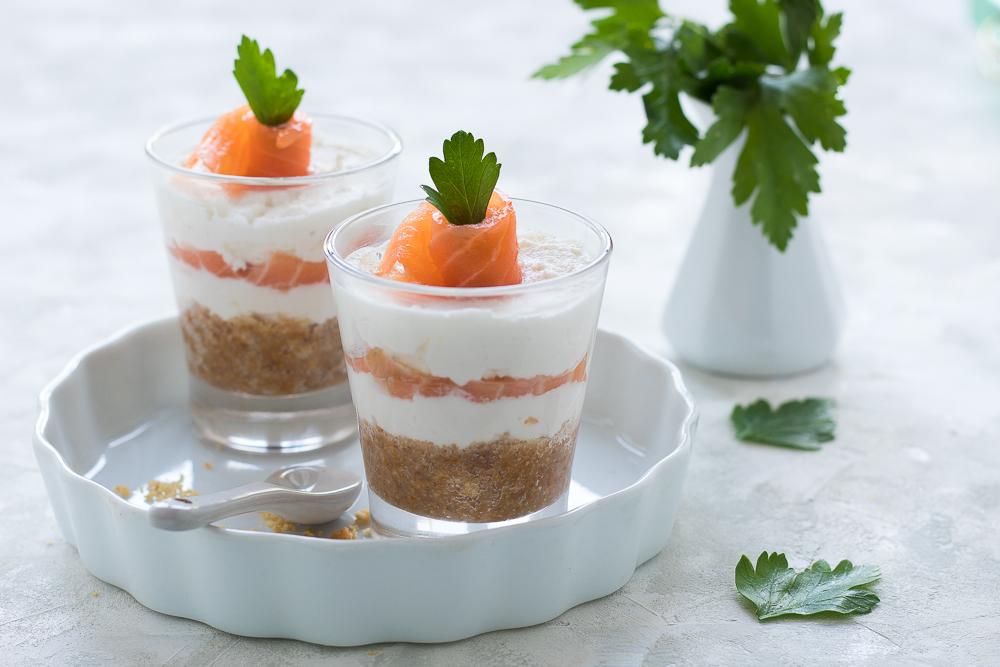 Cheesecake salata al salmone in monoporzione