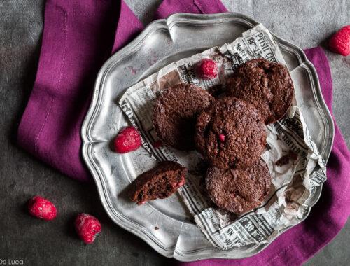 Tortine cioccolato fondente e lamponi